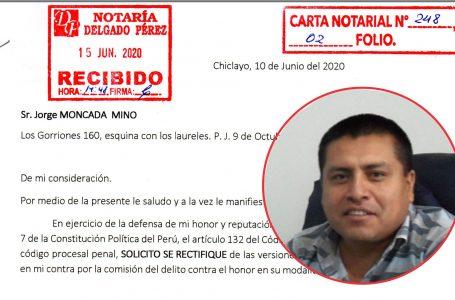 Exgerente de Municipalidad de Olmos envía Carta Notarial